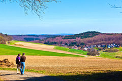 Landscape with fields and village Stock Photos