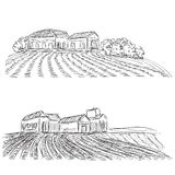 Landscape with Fields and village House. Royalty Free Stock Image