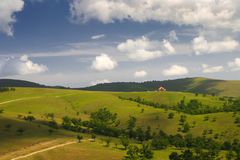 Landscape of filds in Zlatibor mountain in Serbia Stock Image