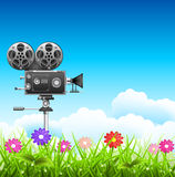 Landscape. Filming in the nature. Vector illustration Royalty Free Stock Image