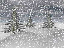 Landscape of fir trees - 3d render. Magnificent landscape of fir trees and snow Stock Image