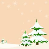 Landscape with fir trees greeting card. Vector illustration Stock Photo