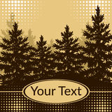 Landscape, Fir Trees Silhouettes. Landscape, Forest, Spruce Fir Trees Silhouettes and Place for Your Text on Abstract Brown Background. Vector Royalty Free Stock Photography