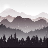 Landscape with fir trees and snow. Forest background, hand drawn vector illustration Stock Images
