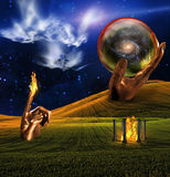 Landscape. With fire temple and faces in clouds Stock Photo