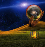 Landscape. With fire temple and large human hand containing galaxy Stock Images