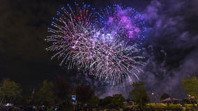 Landscape with fireworks. Fireworks at parties in a town of Madrid in Spain Stock Images