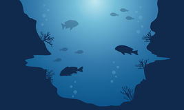 Landscape of fish on blue sea background silhouettes. Illustration Stock Image