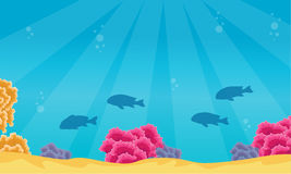 Landscape of fish and coral reef on ocean. Vector art Royalty Free Stock Photography