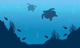 Landscape of fish and turtle silhouettes. Vector art Royalty Free Stock Photos