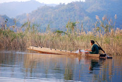 Landscape with a fisherman Royalty Free Stock Photography
