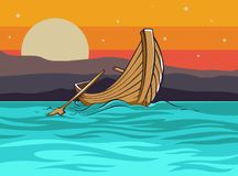 Landscape with the fishermen boat and sunset vector illustration