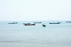 Landscape with fishing boats Royalty Free Stock Image