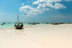 Landscape with fishing boats on the shore, Zanzibar Royalty Free Stock Photo