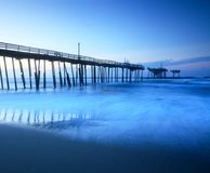 Landscape Fishing Pier North Carolina. Fishing pier in the Atlantic Ocean on the Cape Hatteras National Seashore in North Carolina at dawn Stock Images