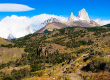 Landscape with Fitz Roy in Patagonia, Argentina. Beautiful landscape with Mt Fitz Roy in Los Glaciares National Park, Patagonia, Argentina, South America royalty free stock photo