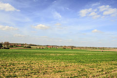 Landscape in flanders fields belgium sky and clouds farm Stock Photo