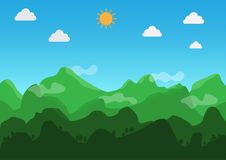 Landscape flat design. During the day, the weather is clear. Vector. Illustration. stock illustration
