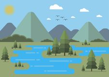 Landscape flat design illustration vector. Fir-trees and mountains background. Editable. Landscape flat design illustration vector. Fir-trees, sun, lake and Royalty Free Stock Photos