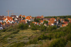 Landscape with flemish style houses Royalty Free Stock Images