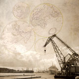Landscape with floating crane Stock Photography