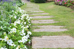 Landscape of floral gardening with pathway Stock Photo