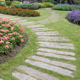 Landscape of floral gardening with pathway Royalty Free Stock Images
