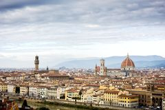 Landscape of the Florence as seen from Michelangelo hill. Tuscany, Italy stock image