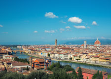 Landscape of the Florence, Italy. Cityscape of Florence, towers and cathedrals around the river Royalty Free Stock Images
