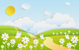 Landscape flower field with summer season. Paper art style Stock Photos