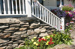 Landscape flowers and porch steps Royalty Free Stock Photography