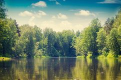 Landscape of flowing river Royalty Free Stock Photos