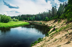 Landscape of flowing river Royalty Free Stock Photo