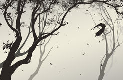 Landscape with a flying owl. Air composition with silhouettes of trees, falling leaves and flying owl,  illustration Stock Images