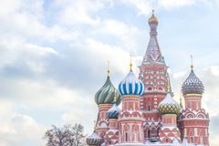 Landscape focus of Saint Basil Cathedral on Red square in Moscow royalty free stock photo