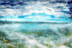 Landscape with fog and dragon. Morning misty landscape with fog and by a flying dragon under clouds Royalty Free Stock Photos