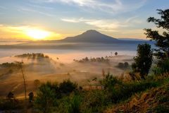 Landscape fog in morning sunrise at Khao Takhian Ngo View Point Royalty Free Stock Photos