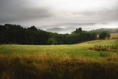 Landscape with fog over the mountains. Asturias royalty free stock images