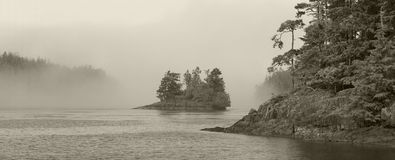 Landscape with fog in sepia tone. Vancouver. Canada Royalty Free Stock Photography