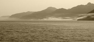 Landscape with fog in sepia tone. Vancouver. Canada Stock Images