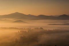 Landscape with fog Stock Images