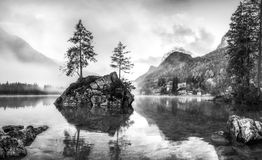 Landscape with Foggy Lake and Mountain Royalty Free Stock Photography