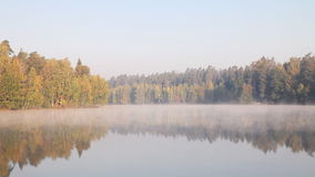 Landscape of foggy misty lake. stock footage