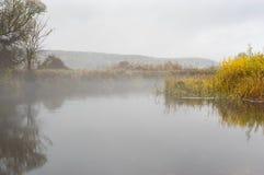 Landscape with foggy Vorskla river at autumnal season in Sumskaya oblast, Ukraine Stock Photo