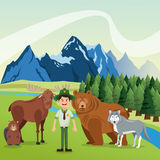 Landscape with  forest animals design, mountain icon, Colorfull. Landscape of mountains, river, and pine trees  with forest animals illustration Stock Images