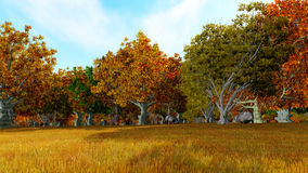 Landscape forest autum 3D render Royalty Free Stock Photo