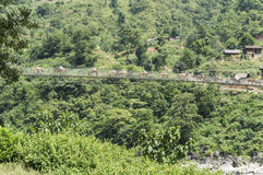 Landscape with forest and bridge in nepal Royalty Free Stock Photo