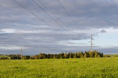 Landscape with forest, field and electric power line stock photo