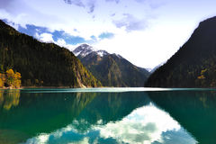 Landscape of forest and lake in China Jiuzhaigou Stock Photos