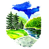 Landscape, forest and lake. Watercolor painting Royalty Free Stock Photos